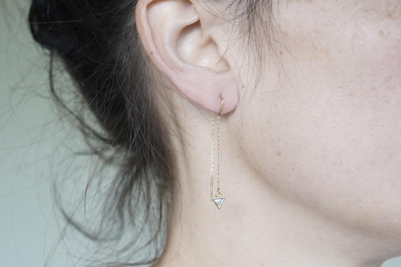 Lange Ohrhänger Kettchen Marmorlook Dreieck Howlith, schwarz - 2