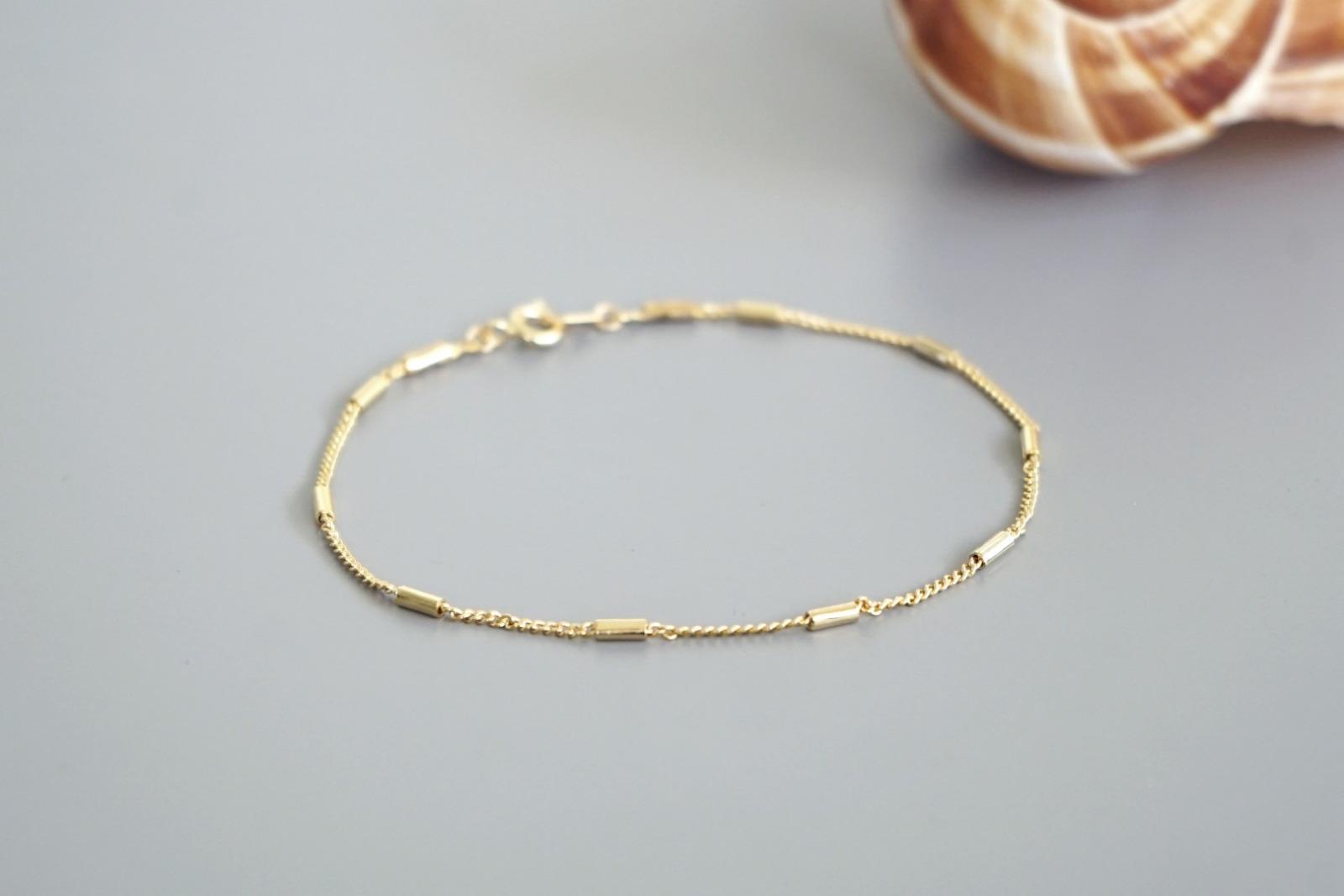 Filigranes Armband vergoldet kleine Röhrchen - 1