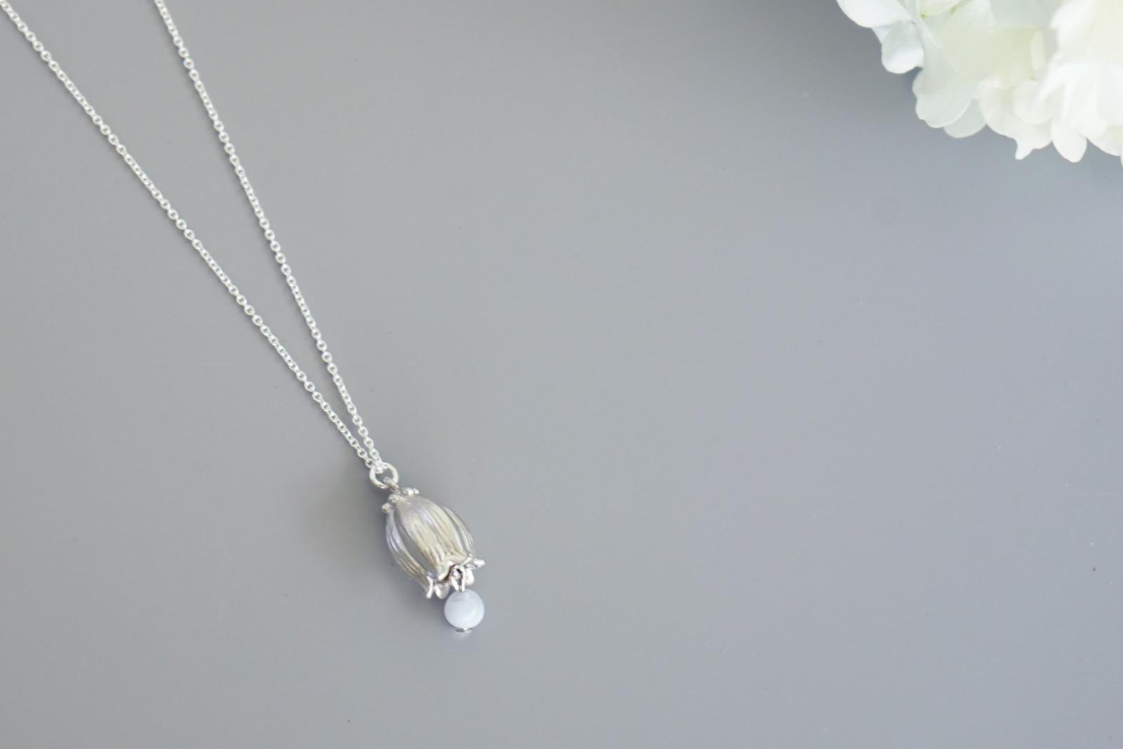 Kette silber mit Glockenblume und blauem Amazonit - 1