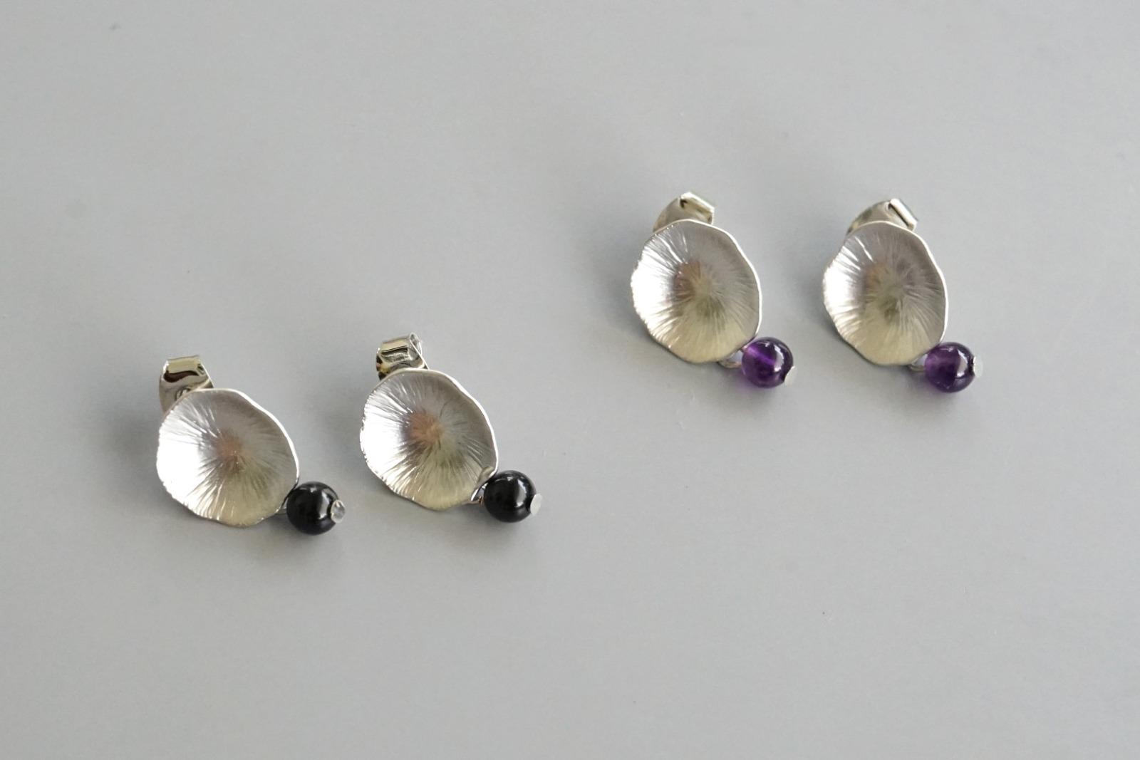 Ohrringe Ohrstecker Lotusblatt silber mit Perle Amethyst - 2