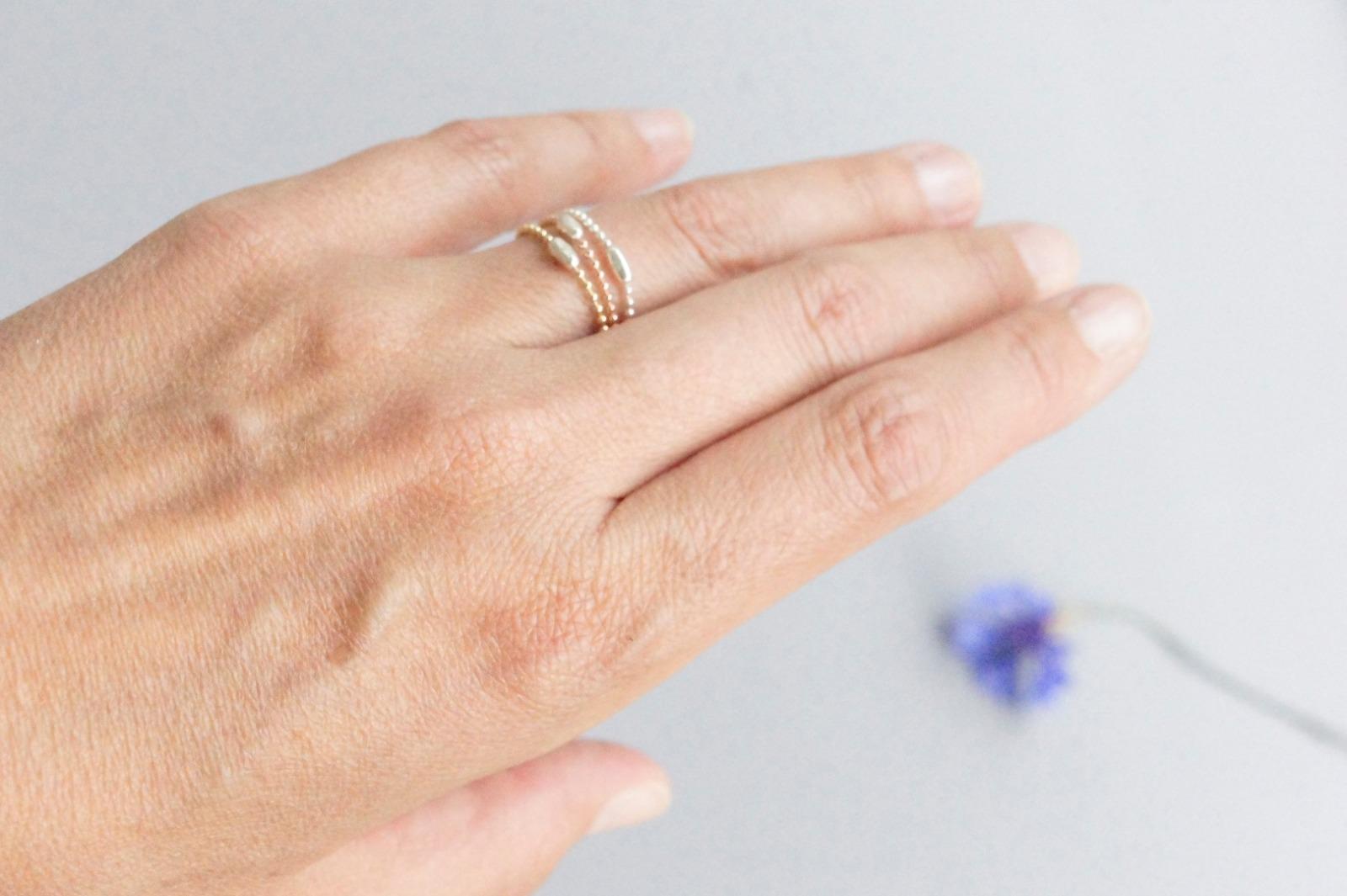 3er Set Ring Kugelkette mit Verschluss