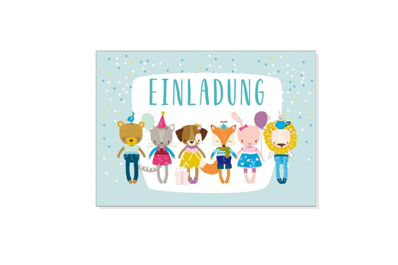 Grusskarte EINLADUNG KLEINE BANDE mit Umschlag - 1