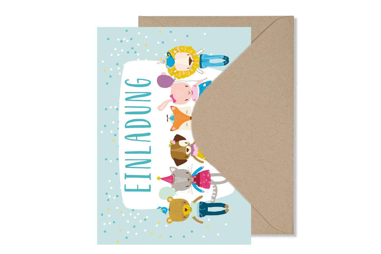 5er Set Grusskarte EINLADUNG KLEINE BANDE - 2
