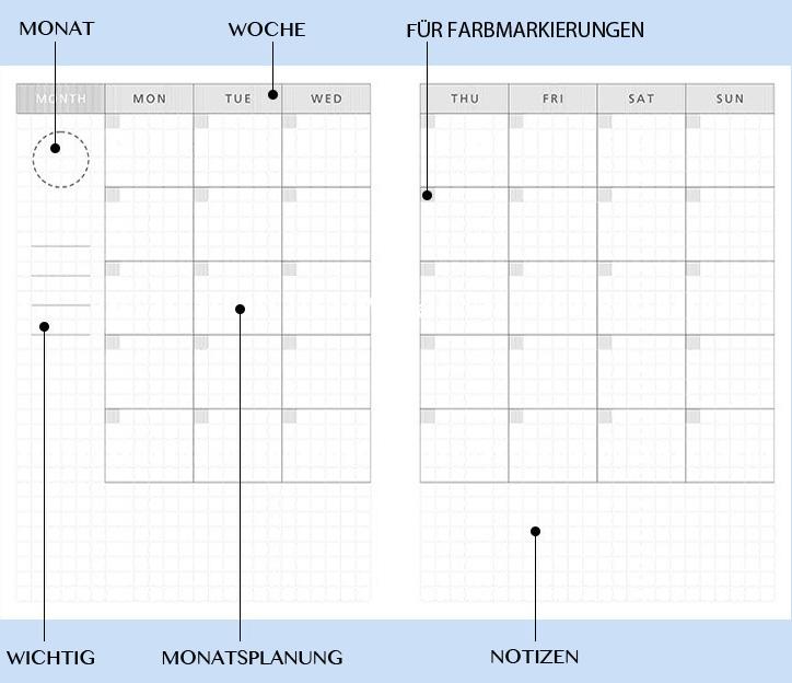 Tage DIY Kalender DIN A6 hellblau