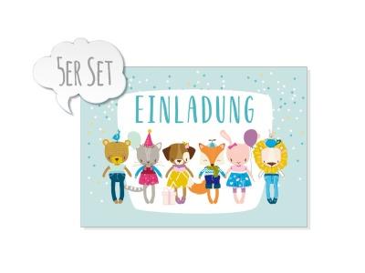 5er Set Grusskarte EINLADUNG KLEINE BANDE mit Umschlag