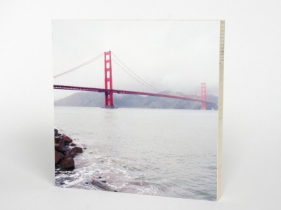 FOTO AUF HOLZ, GOLDEN GATE BRIDGE