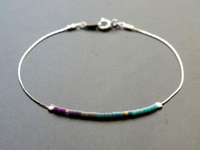 Filigranes Armband 925 Silber Verlauf lila-türkis