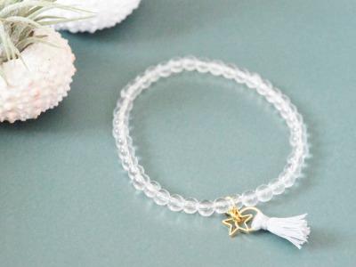 Armband Bergkristall mit Quaste und goldenem Stern