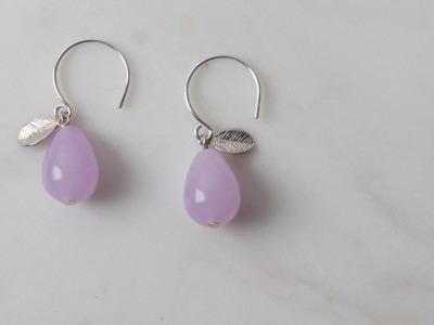 Ohrhänger silber mit Tropfen aus rosa