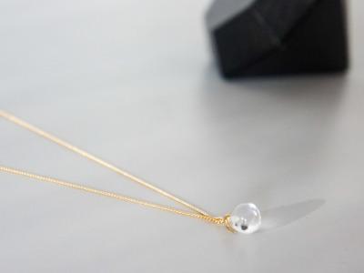 Kabelkette vergoldet mit Anhänger aus Bergkristall