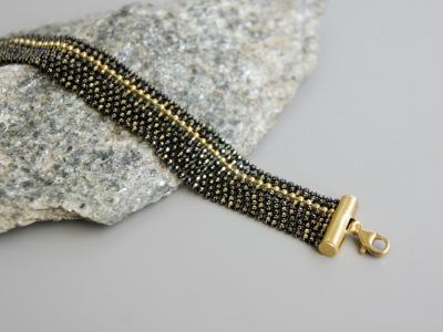 Mehrreihiges Armband Kugelkette Messing schwarz-gold