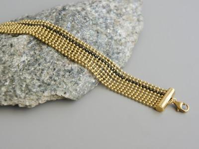 Mehrreihiges Armband Kugelkette Messing gold