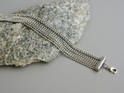 Mehrreihiges Armband Kugelkette Messing silber