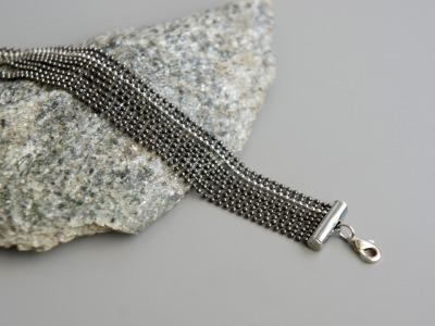 Mehrreihiges Armband Kugelkette Messing schwarz-silber