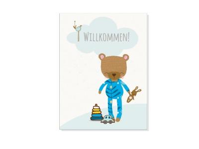 Grusskarte WILLKOMMEN, BABY BOY mit Umschlag