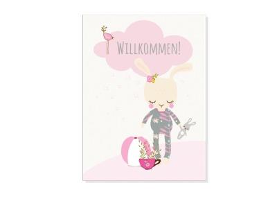 Grusskarte WILLKOMMEN, BABY GIRL mit Umschlag