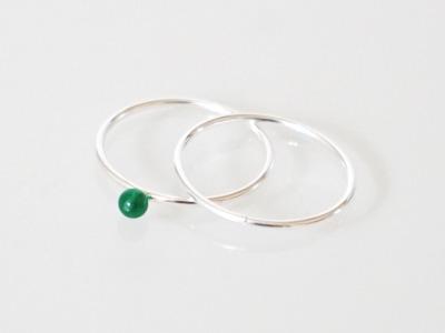 2er Set Stapelring 925 Sterling Silber Onyx grün