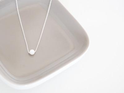 Feine Ankerkette 925 Sterling Silber Perle Jade Weiß