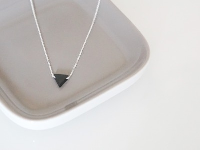 Feine Ankerkette 925 Sterling Silber geometrischer Dreieck Anhänger