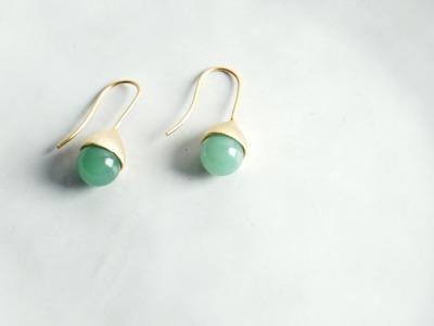 Ohrhänger Hütchen vergoldet mit Perle Aventurin grün