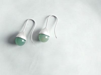 Ohrhänger Hütchen silber mit Perle Aventurin grün
