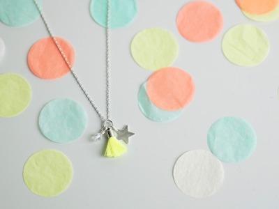 Kette Silber mit Glitzeranhänger - neongelb