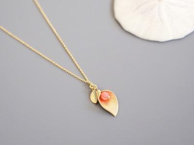 Kette mit Blütenanhänger Calla - rosa