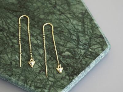 Lange Ohrhänger Kettchen Marmorlook Dreieck Howlith, weiß