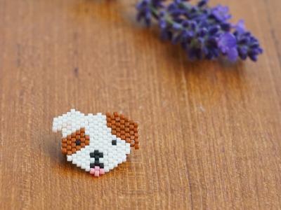 Brosche Pin Hund aus Miyukiperlen