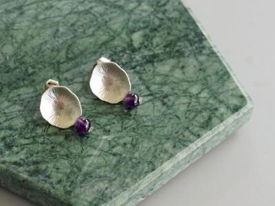 Ohrringe Ohrstecker Lotusblatt silber mit Perle Onyx