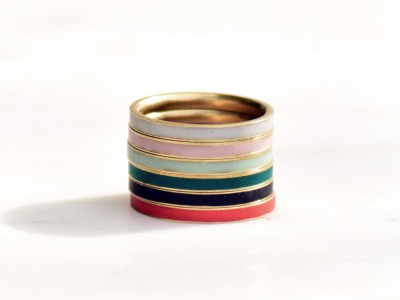 Goldener Stapelring Messing Colorblock Polymer Clay