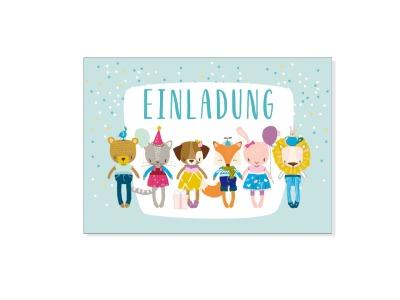 Grusskarte EINLADUNG KLEINE BANDE mit Umschlag