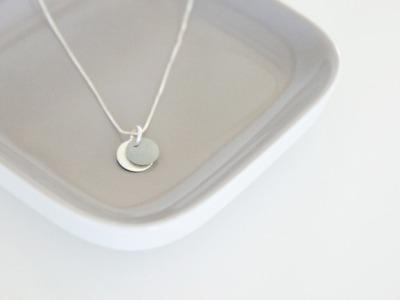 Kette 925 Silber mit Emaille Anhänger grau