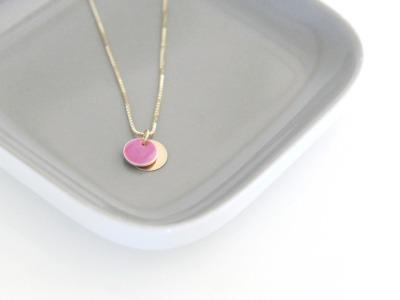 Kette vergoldet mit Emaille Anhänger pink