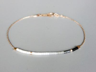 Filigranes Armband rosé gold Verlauf schwarz-weiß