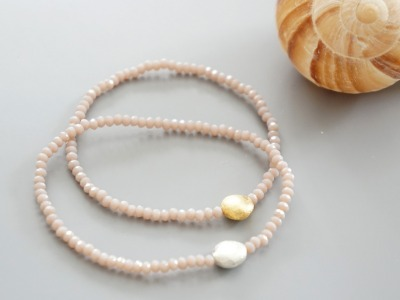 Armband facettierte Kristallperlen rosa gold/silbe