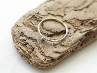 zarter Ring Stapelring vergoldet Tuerkis Fassung