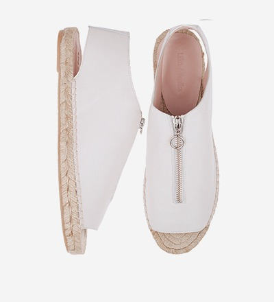 CREME - Peep Toe Zipper Sandal