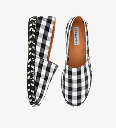 CHECKERED ZEBRA / Pre Order - Cotton Silk  / Espadrilles
