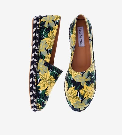 YELLOW FLOWER ZEBRA Cotton Silk Espadrilles