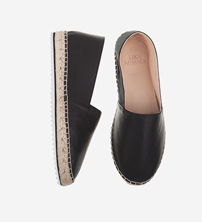 BLACK HYBRID - Calf Leather / Espadrilles