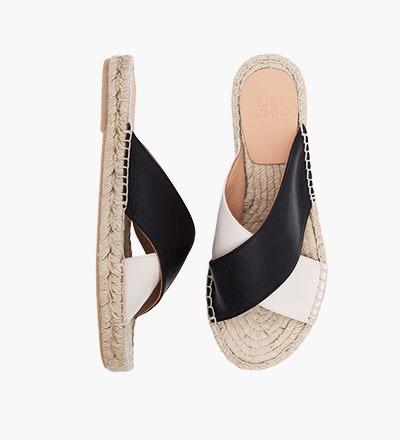 BLACK IVORY - Cross Sandal