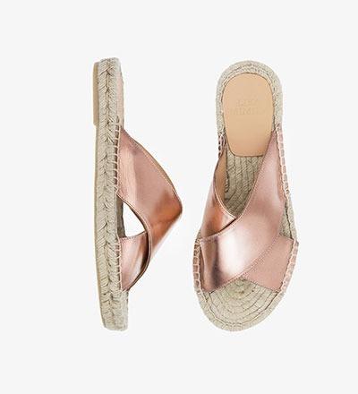 SHINY COPPER - Cross Sandal
