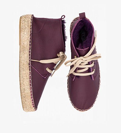 AUBERGINE - RABBIT FUR High Lace up