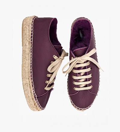 AUBERGINE - RABBIT FUR Lace up