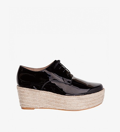 BLACK PATENT - Plateau Lace Up