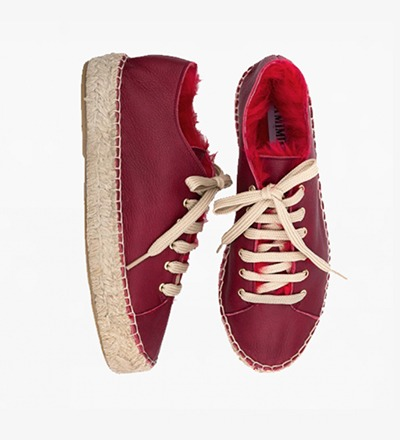 ROSSO - RABBIT FUR LACE UP