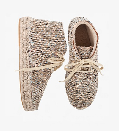 WOVEN - LAMB FUR HIGH LACE UP
