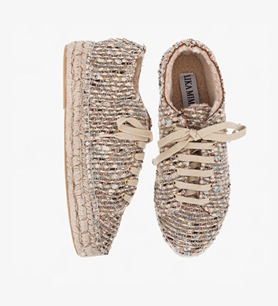 WOVEN - LAMB FUR LACE UP