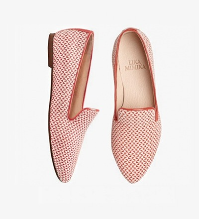 WOVEN RED - FLAT LOAFER
